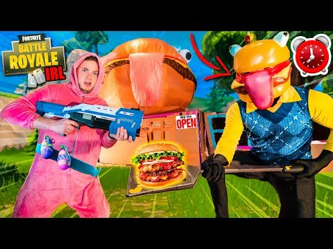 FORTNITE 24 Hour Durr Burger BOX FORT Challenge Vs Zombies (Nerf Battle)