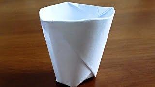 Как сделать стаканчик из бумаги. Лайфхак своими руками. Оригами стакан.