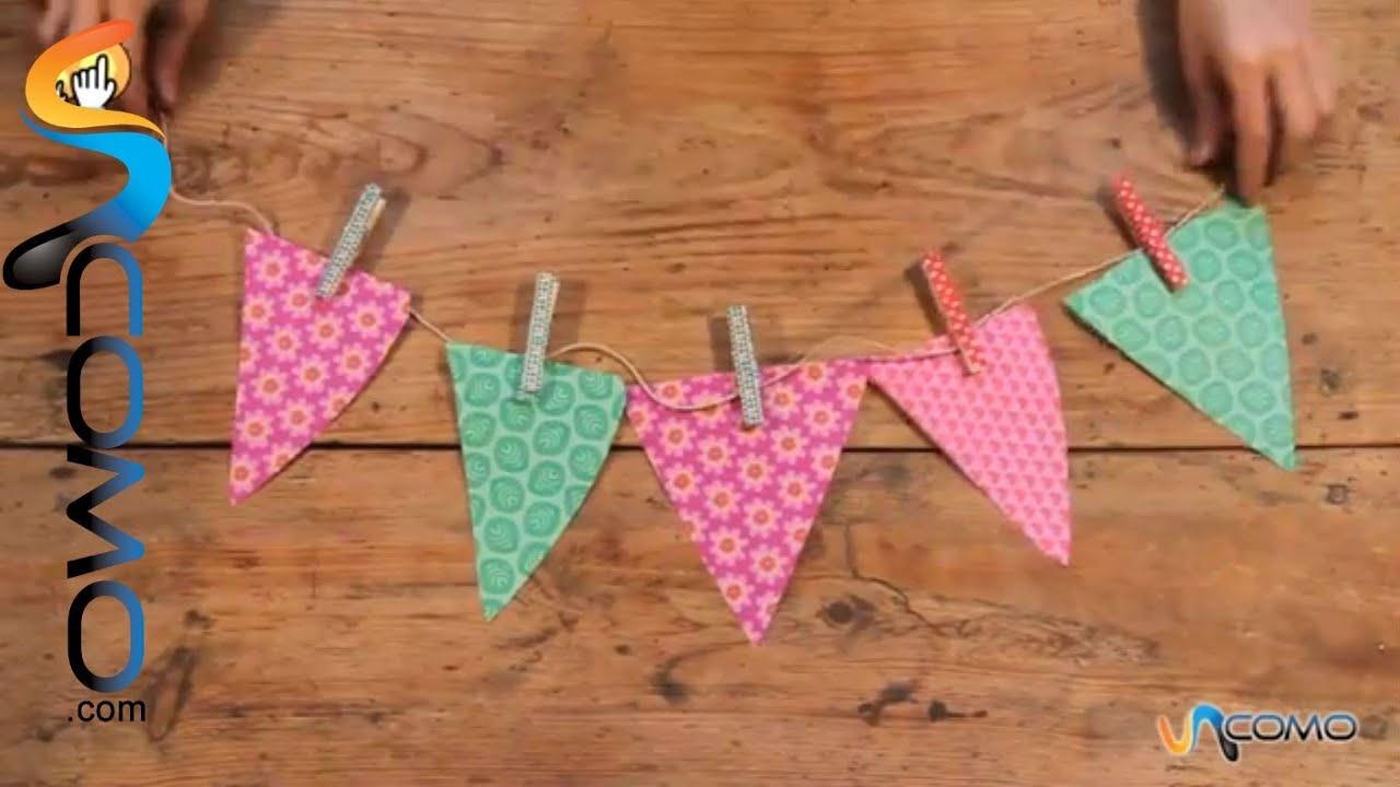 Hacer guirnaldas de papel youtube for Guirnaldas para fiestas infantiles