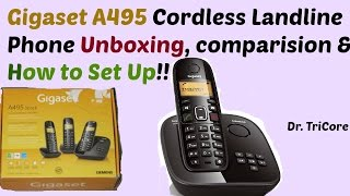Gigaset A495 Black Cordless Phone Unboxing, Comparision and How To Set up !!