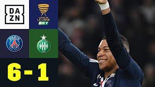 Mbappe mit Vereinsrekord bei PSG-Schützenfest: PSG - St. Etienne 6:1 | Coupe de la Ligue | DAZN