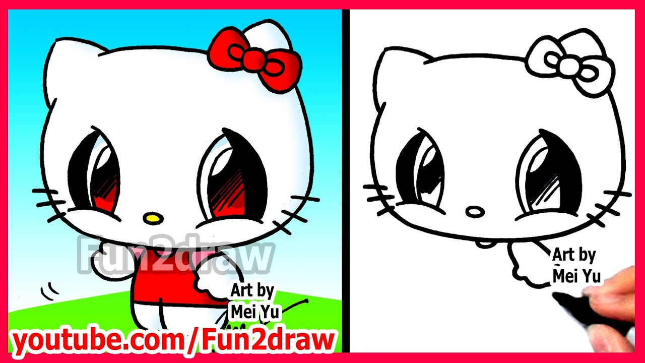 how to draw cartoon characters hello kitty fun2draw easy drawings youtube - Hello Kitty Pictures To Draw