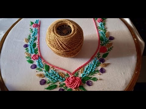 Hand embroidery. Brazilian embroidery. Neckline embroidery.