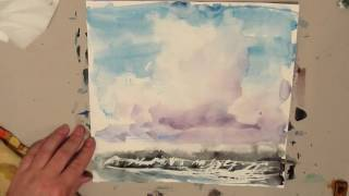 Painting. Seascape with a cloud.