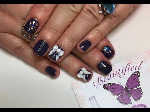 3d nail art on my short natural nails  youtube