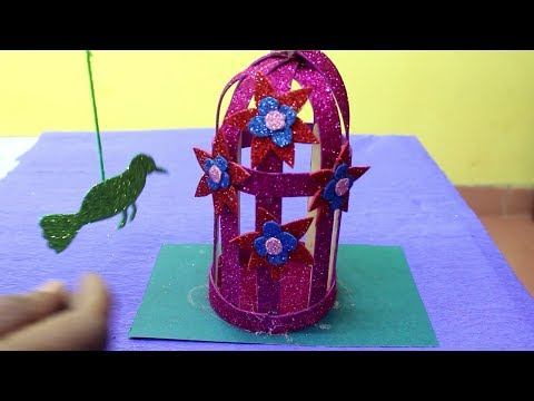 How To Make Bird Cage - Bird & Cage Showpiece   Craft Idea For Home Decor
