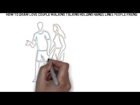 Line Drawing Holding Hands : How to draw love couple walking talking holding hands lines people