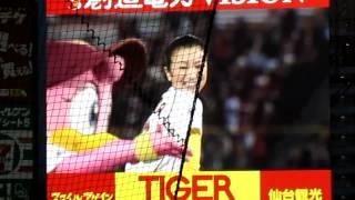 東北初のプロ野球開幕試合で鈴木京香さんが始球式をしたときの様子です。