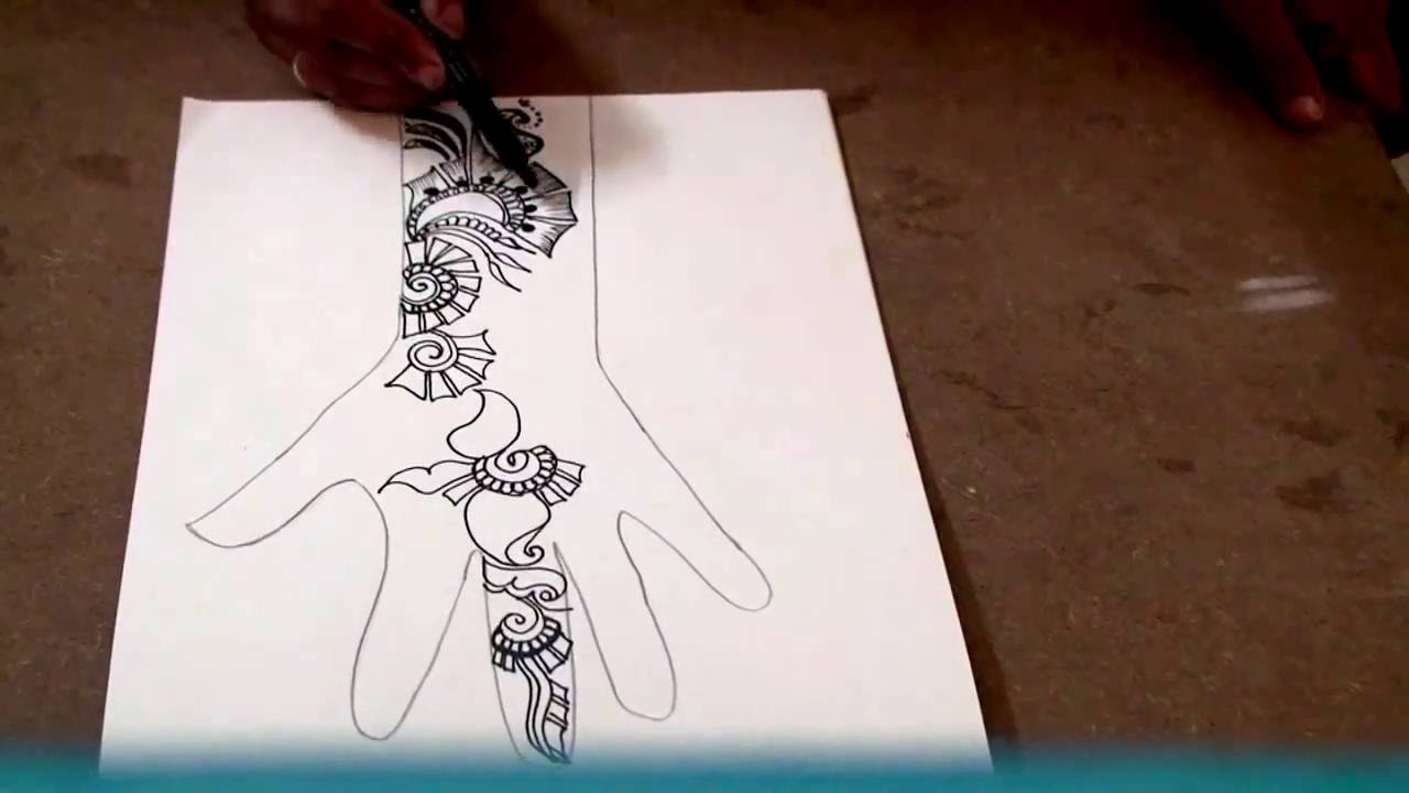 Simple Mehndi Patterns On Paper : Easy mehndi design on paper art how to make henna