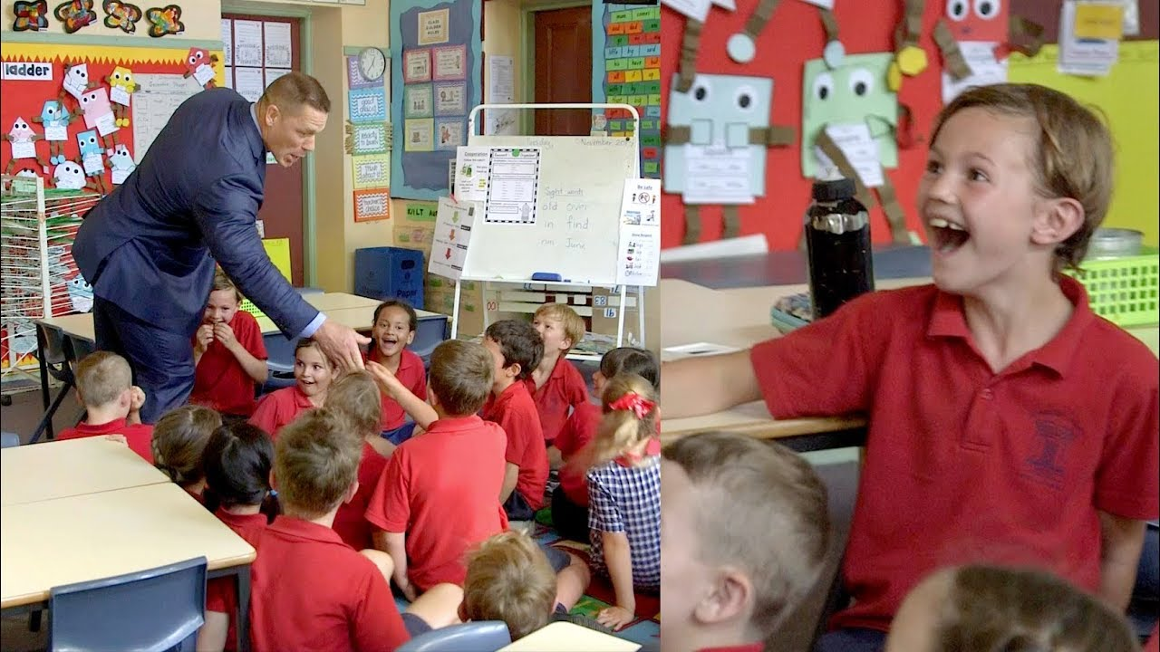 John Cena surprises excited primary school kids!!! - YouTube