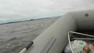 Сильный ветер на Иваньковском вдхр.  Лодка Викинг 340 LE.