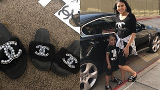 DIY CHANEL INSPIRED FUR SLIPPERS| MOMMY & ME