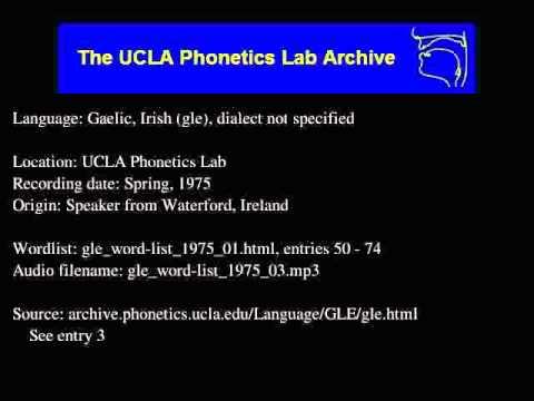 Gaelic Irish Audio Gle Word List 1975 03