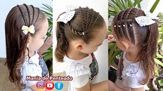 Penteado Infantil fácil com tiara em tranças de duas pontas, amarração ou coque simples.