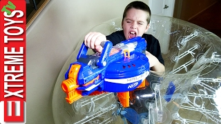 Nerf Gun Fight! Ethan Vs Cole Round 3! Nerf Hail Fire and a Giant Inflatable Escape Pod!