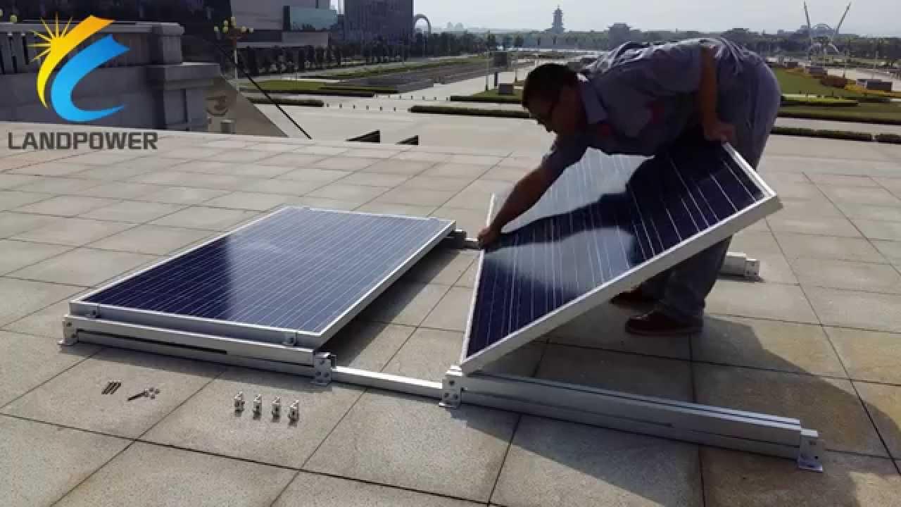 陸屋根用バラスト式太陽光発電架台:横置きバラスト式架台 Youtube