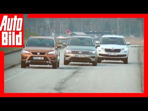 Vergleich VW Tiguan gegen Seat Ateca und Skoda Kodiaq