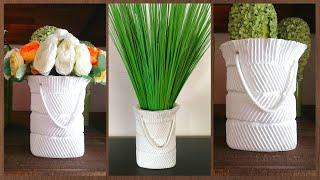 How to Make Unique flower vase | DIY White cement craft