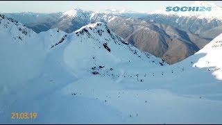 Рекордное количество мартовского снега выпало в горах Красной Поляны.