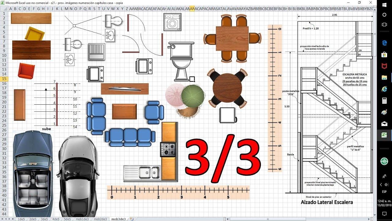6 6 planos de casas con excel mobiliario 5 3 de 6 - Como hacer plano de casa ...