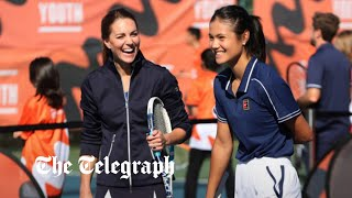 video: Watch: Duchess of Cambridge meets her match in Emma Raducanu as they take to the court for game of doubles