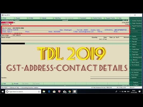 Tally TDL 2019   Display Customer Details when Invoicing Mp3