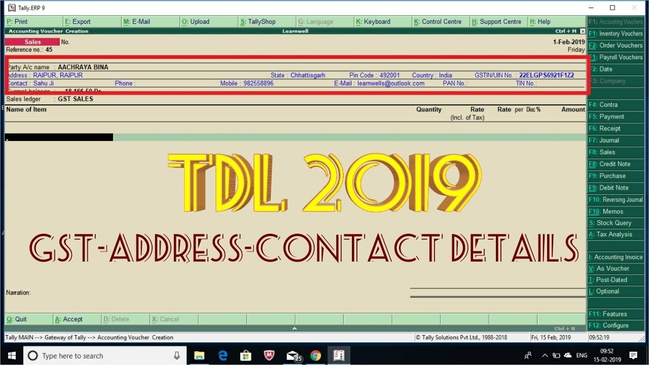 Tally TDL 2019 | Display Customer Details when Invoicing - LEARN