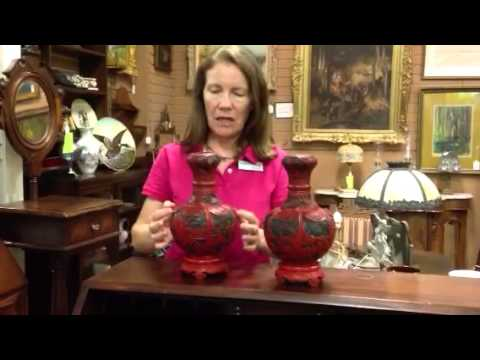 Asian Antiques, Antique Chinese lacquer cinnabar vases from our antiques mall at Gannon's Antiques