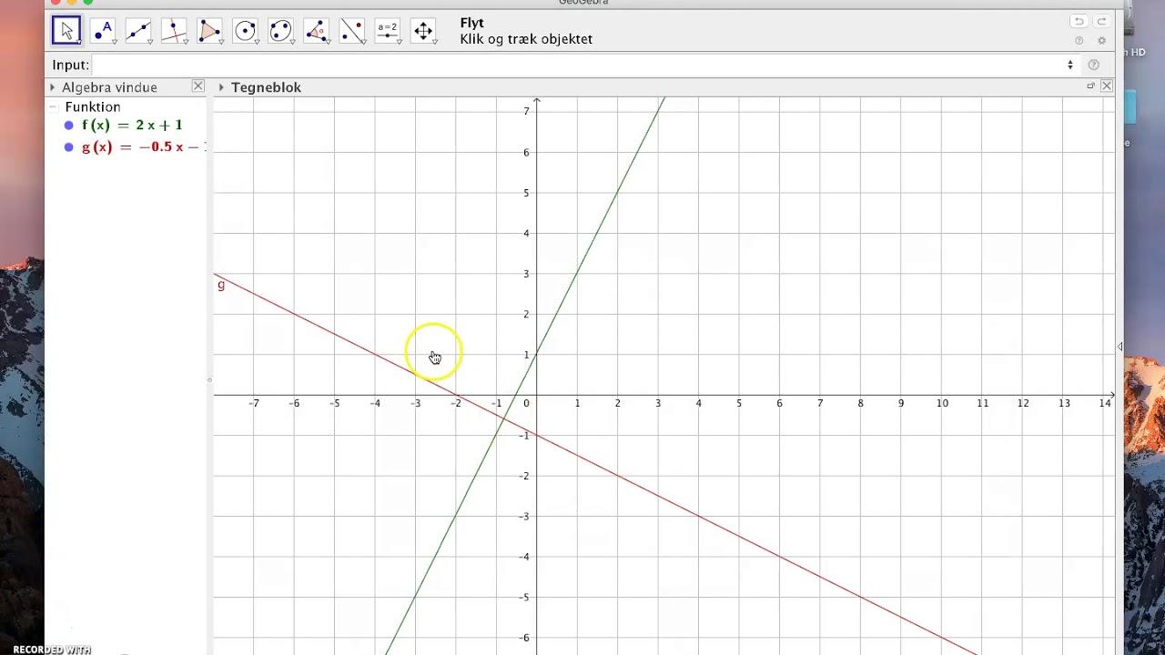 Ligninger, HW, Grafisk løsning af to linjer Geogebra og WordMat