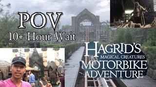 Opening Day Hagrid's Motorbike Roller Coaster! FRONT ROW POV | 10 HOUR WAIT TIME