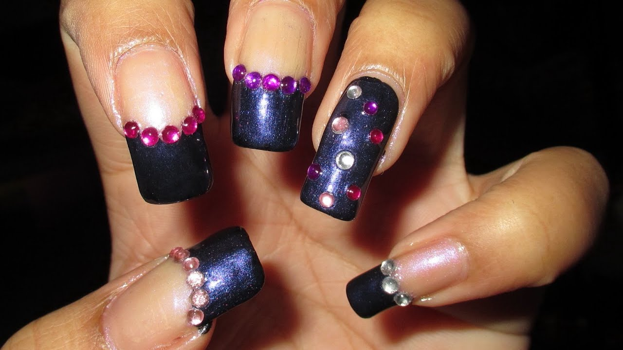 Gemmed Funky French Nail Art Tutorial Nail Art April 6 Youtube