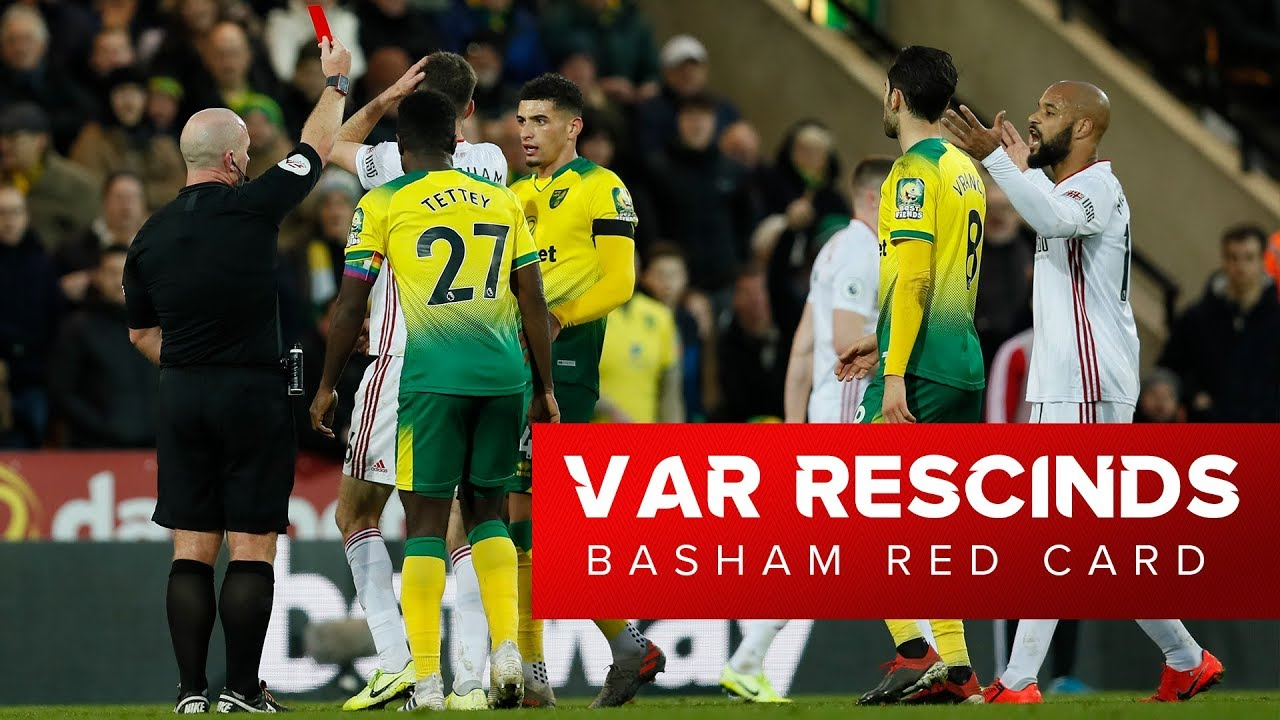 VAR rescinds Chris Basham Red Card  |  First ever rescinded red card in the Premier League