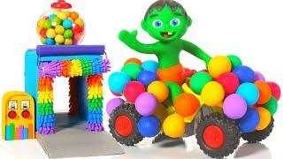 SUPERHERO RAINBOW CAR ❤ SUPERHERO PLAY DOH CARTOONS FOR KIDS