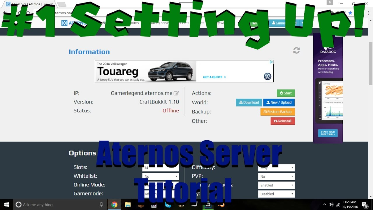 Aternos Server Tutorial #1 | Setting Up! - YouTube