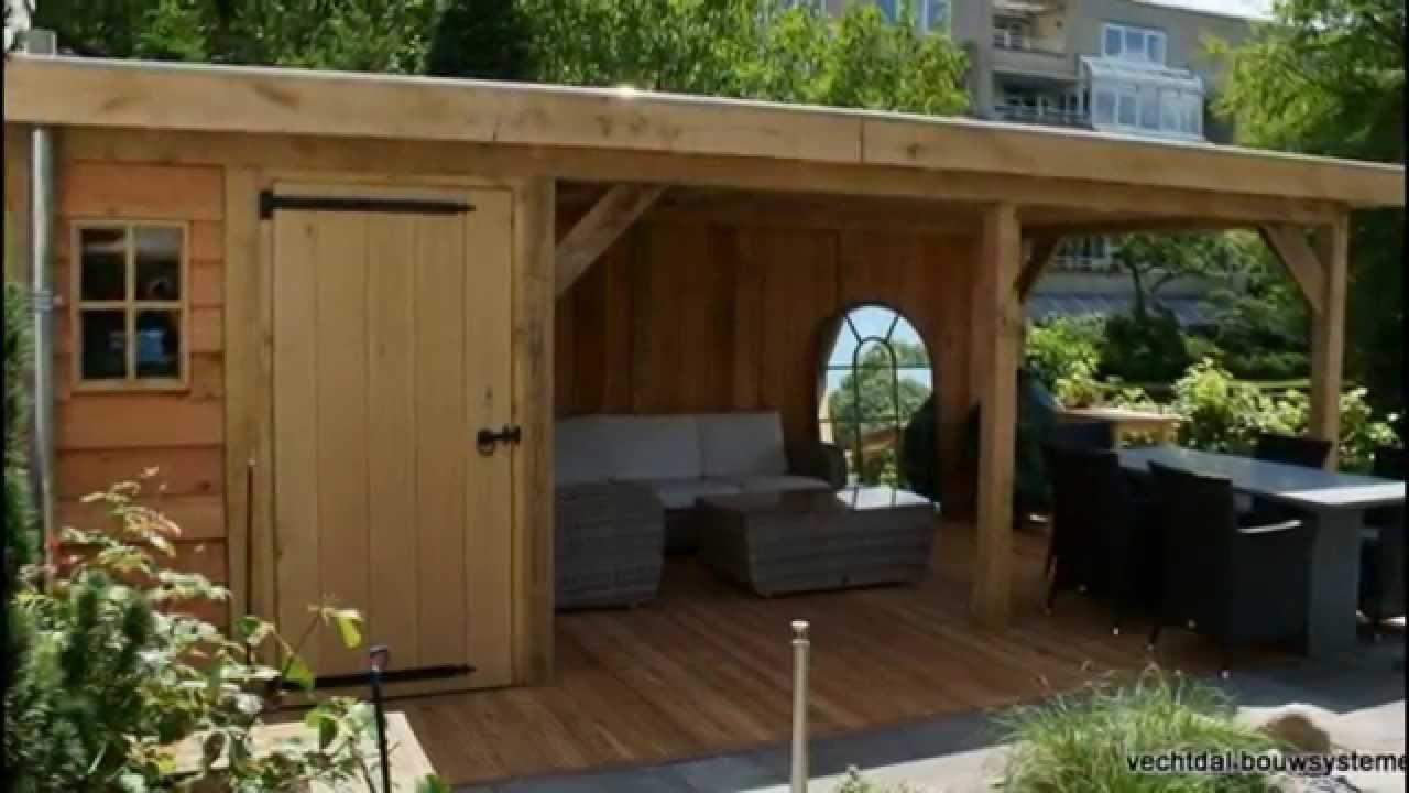 luxe eikenhouten tuinhuis met veranda platdak variant