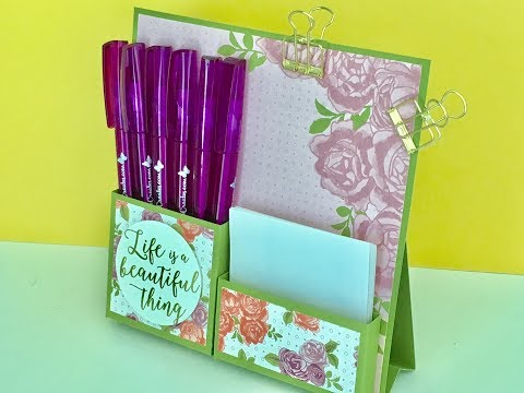 Desktop Notes Tidy - Video Tutorial with Petal Garden DSP by Stampin