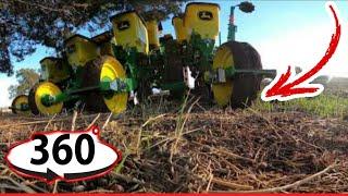 🚜Tractor John Deere Trabajando con Sembradora John Deere 1015 VIDEO 360 VR