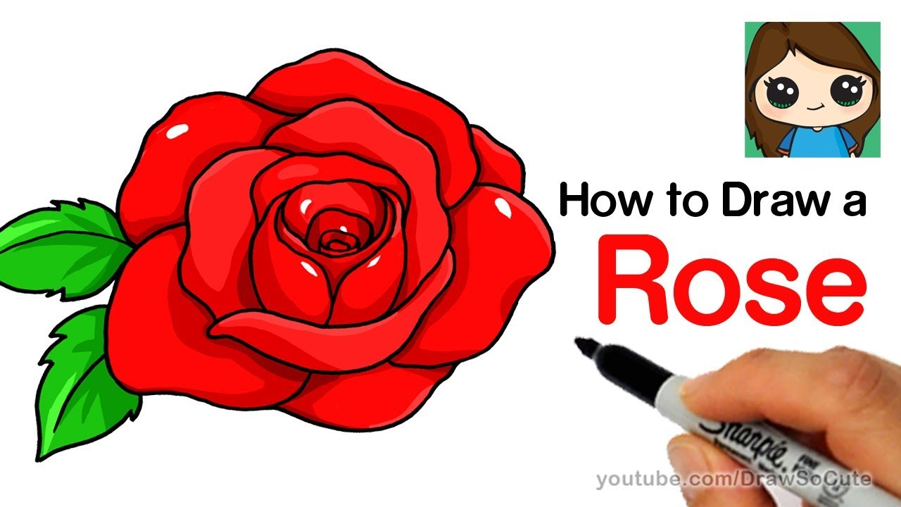 how to draw a rose step by step easy youtube