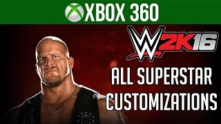 WWE 2k16 Gameplay Xbox 360 - ALL Superstar Player Creation Customizations