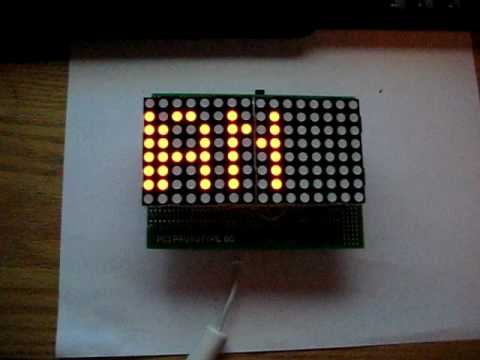 Arduino 16x8 display with dual red 8x8 LED matrix - YouTube