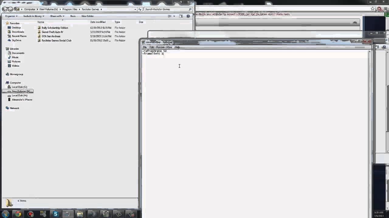 How to make a commandline txt in GTA IV + Fix GTA IV LAG