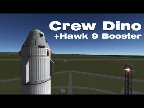 Crew Dino and Hawk 9 - 100% Stock Reusable Rocket - Kerbal Space Program |