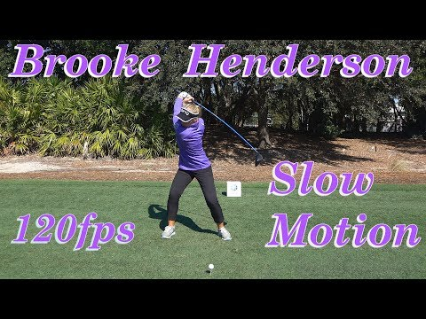 BROOKE HENDERSON 120fps SLOW MOTION FACE ON DRIVER GOLF SWING 1080 HD