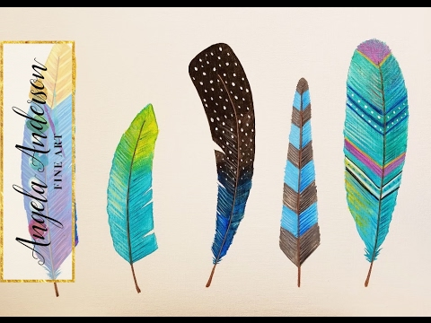 How to paint 5 gorgeous feathers easy acrylic painting for Painting feathers on canvas