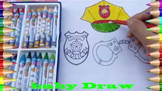 How to draw the color of the hat, badge, handcuff number eight of the beautiful police