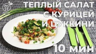 Теплый салат с курицей и цуккини