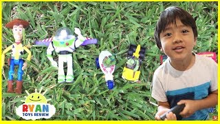 GIANT BALLOONS SURPRISE TOYS and Ball Pit challenge in huge pool Disney toys Ryan ToysReview