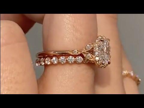 Rose Gold 0.9 Carat Oval Diamond Engagement Ring & 2mm Diamond Wedding Band - Rachael  & Vic