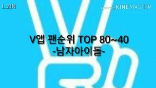 V앱 팔로워 순위 TOP 80~40 -남자 아이돌- (2018년 2월)
