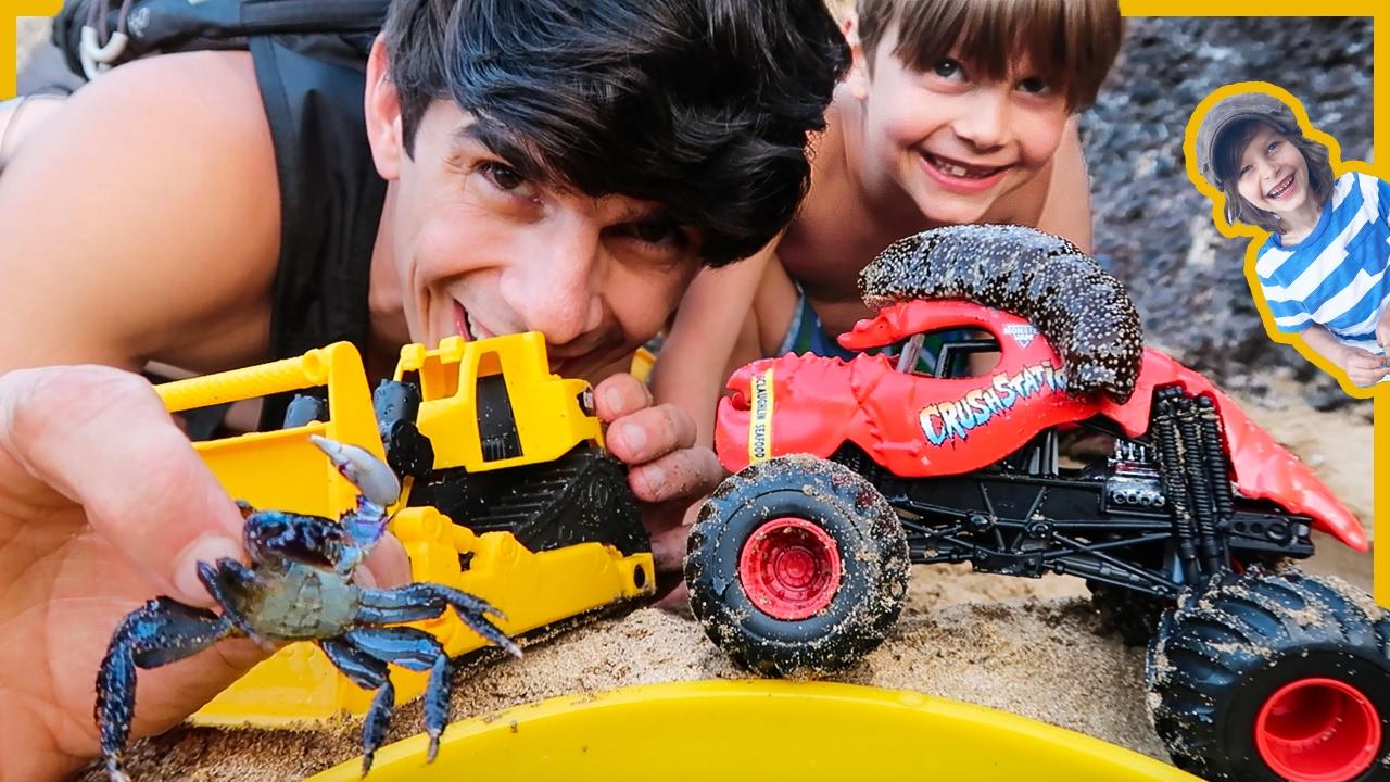 Monster Trucks And Construction Trucks Sea Creature Adventure Youtube